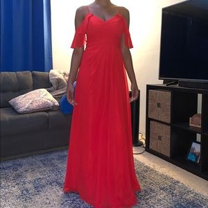 Azazie Dakota bridesmaid dress in Red